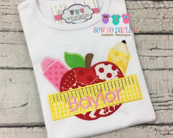 Back to school Shirt - Girl School Shirt - Personalized school shirt - Apple Shirt - Girl School Outfit - First day of school shirt girl