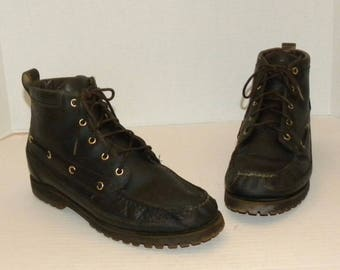 Vintage Timberland Hiking Boots / Leather ankle boots Lace up / Dark Brown / Men Size 11