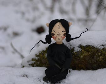 Pixie elf doll - Woodland  girl - Handmade doll - Textile toy - Halloween doll- Exrime primitive - Embroidered Face - Fantasy doll.