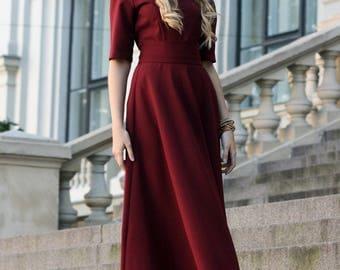 Plus Size Maxi Dress, Women Dress, Burgundy Dress, Bridesmaid Dress, Oversized Dress, Winter Dress, Fall Clothing, Fashion Dress
