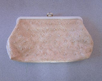 1950s Beige Lace Clutch with Overlay of Clear Plastic
