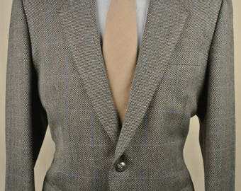 J.B. Brothers Co Gray W/ Blue Windowpane Undertone Two Button Sport Coat Size: 42R