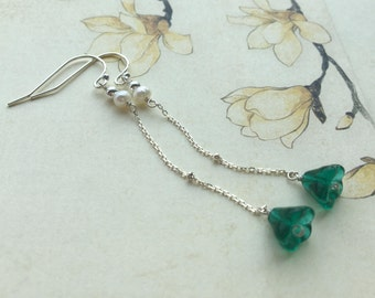 Beautiful green flowers Peacock through Sterling Silver 925 Chinese freshwater pearl earrings Pearl Silver 925 chain