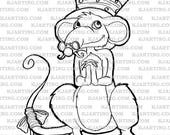Rat in the Hat (Line_Art Printable_00285 KJArting)