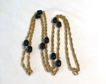 VINTAGE - MONET - 1970's - Black Glass Bead Necklace