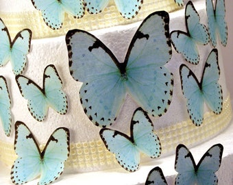 Edible Butterfly Cake Decorations, Pastel Blue Edible Butterflies, Set of 24 DIY Cake Decor, Edible Cake Decorations, DIY Wedding Cake
