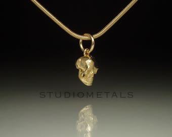 Gold Skull Necklace, Gold Skull Pendant, Skull Charm, Small Skull, Solid Gold Pendant, 14K Gold Charms, Small Skull, Anatomical Skull, P115