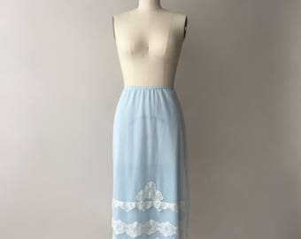 LUXITE powder blue & white half slip with lace / M / L