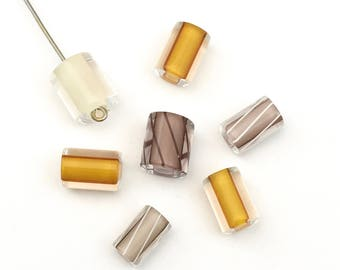 7 yellow brown hand blow furnace glass beads # PV081