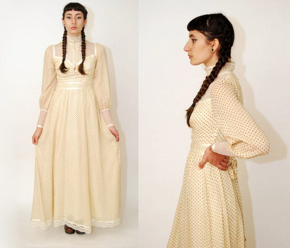 GUNNE SAX dress (XS/S) ivory 70s lace gown floral print rose long sleeve romantic renaissance victorian edwardian maxi sheer off white cream