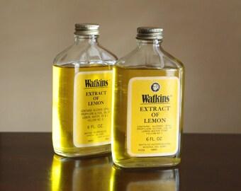 Vintage Watkins Extract of Lemon bottle / vintage spice bottle