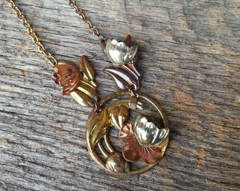 Vintage Brass & Copper Floral Relief Necklace
