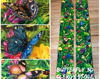 Clergy Stole, 3D Butterfly Clergy Stole, Resurrection Clergy Stole, Ordinary Time Clergy Stole, Animals Clergy Stole, Clergy Stoles
