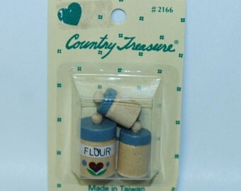 Country Treasure Minature Wooden Canister Set 2166 Made In Taiwan Dollhouse, Shadowbox