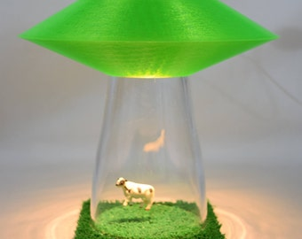 GREEN UFO Alien Abduction Desk Lamp Colored Lighting OPTION Cow Farm Sci Fi Spaceship Outerspace Flying Saucer Space Bedroom Night Light