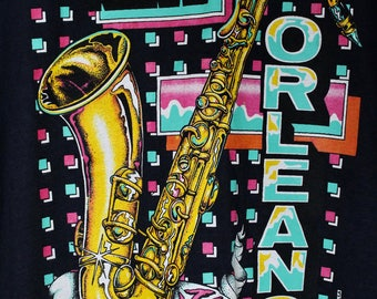 1989 Vintage New Orleans T-Shirt New Orleans Jazz Funky 80s Retro Pink Blue Yellow Jazz Music Louisiana Size XL