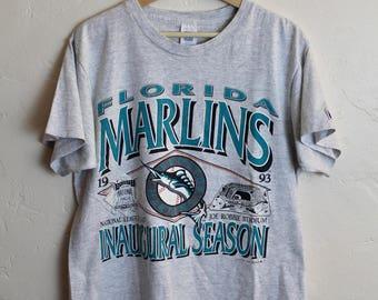 90s Vintage 1993 Florida Marlins Inaugural Season T-Shirt Heather Gray Tee MLB Baseball Size Large