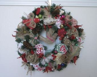Handmade Christmas Wreath Vintage Chenille Bedspread Fabric Old Ornaments Ticking Burlap 17""