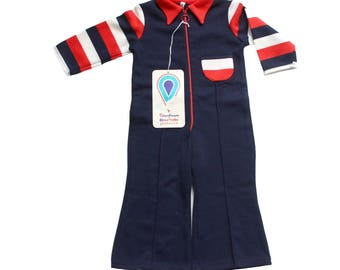 FRENCH VINTAGE 70's / kids overalls / acrylic jersey / new old stock / size 1 year
