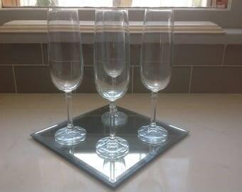 Vintage Crystal Prism-stem Champagne flutes - set of 4