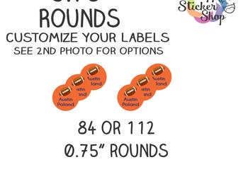 """0.75"""" Rounds Kid's Name Label Stickers  - 84 or 112 Labels Waterproof, Dishwasher Safe for School, Daycare, Camp"""