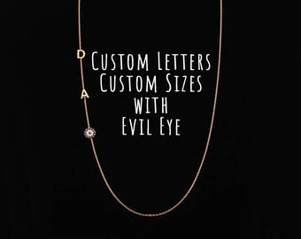 Sideways Evil Eye Necklace, Sideways Initial Necklace with Evil Eye, Evil Eye Necklace, Dainty Necklace, Personalize Necklace, Silver, 6mm