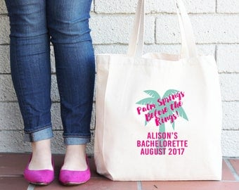 Palm Springs Before The Rings Personalized Palm Tree Bachelorette Tote Bag Palm Springs // Personalized Bachelorette Tote Bag //