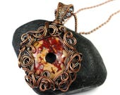 Crazy Curls Donut Pendant - Wire Wrapped Necklace - Made in Alaska - Alaska Art