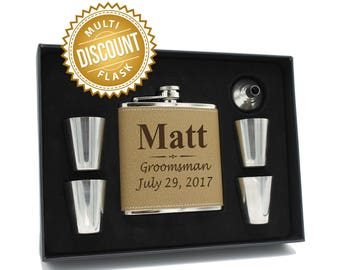 Groomsmen Gift Box, Groomsman Gift Flask, Gifts for Groomsmen, Personalized Leather Flask, Engraved Flask, Personalized Groomsmen Flask