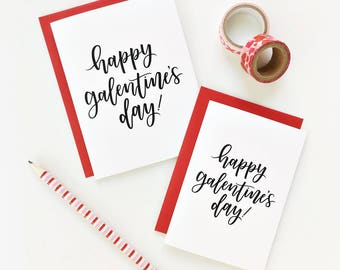 SET OF 6 / Happy Galentine's Day Calligraphy Card, Calligraphy Card, Hand Lettered Card, Valentine's Day, Friendship Card, Vday Card Set