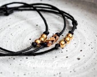 Bracelet set-black/rose gold/Gold