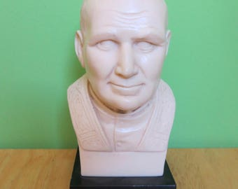 Vintage T. Bianchi Pope John Paul II Alabaster Resin Bust - Made In Italy - Free Shipping