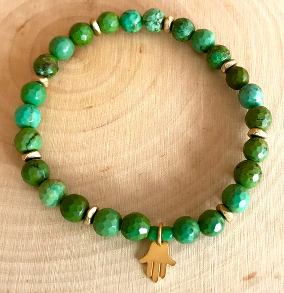 Turquoise Wrist Mala, Turquoise Stretch Bracelet, Gold Hamsa Charm, Protection Bracelet, Heart Chakra Jewelry with Meaning, Yoga Jewelry