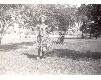 Vintage Snapshot Photo ~  hula girl ~ grass skirt