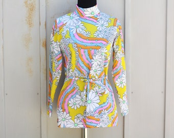 Psychedelic Floral Blouse - 60s Turtleneck Top - Long Sleeve Polyester Blouse - Groovy 1960s Top - Vintage Hippie Blouse - Retro Mod Top