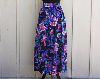 Black Floral Skirt - 80s Skirt - 90s Grunge Skirt - Vintage Flowy Dress - High Waist Skirt - 1980s Skirt - Lolita Skirt - Pastel Goth Skirt
