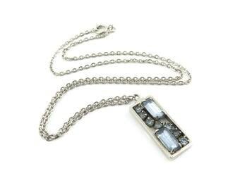 Vintage Blue Rhinestone Pendant Necklace
