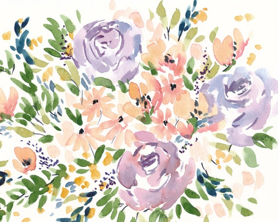 Original 8x10 Peachy Flower Watercolor Painting