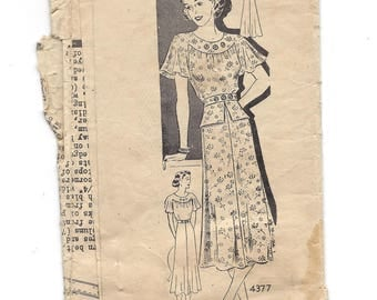 1940s Anne Adams 4377, Misses' Dress, Peplum Option, Puff or Flare Sleeves, Mail Order Pattern, Bust 36 Size 18
