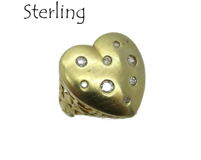 Sterling Silver Heart Ring, Vintage Gold Plated Silver Love Heart Ring, Size 7 Gift Box, Perfect Gift