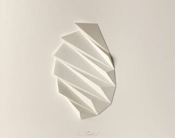 Concrete Art-White Paper Relief-Geometric Modern Minimal-Light Shadow-Abstract Wall Decor-Pleat2