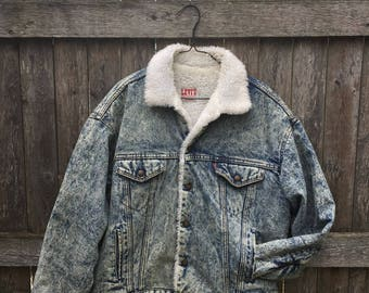 Levi's Shearling/Sherpa Lined Acid Wash Denim Jacket