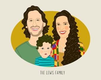 Family portrait Illustration. Custom portrait. Family illustration. Custom digital drawing. Family gift. Mothers day gift. New baby gift.