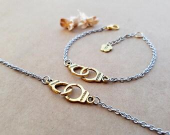 2 Partners in Crime Bracelets | Best Friends Jewelry | Friendship bracelets | Handcuffs Bracelets | Matching Bracelets | Initial Bracelets