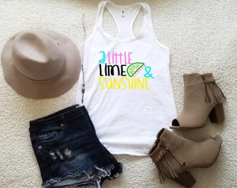 A little lime and sunshine tank top tank top for women in racerback funny saying graphic slogan tumblr instagram gift