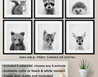 Forest animal prints for nursery, Forest friends baby decor, Black and white woodland animals, Woodland baby room decor, Nursery animal  art