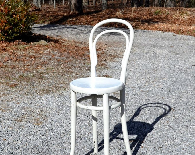 Vintage Bentwood Stool Childrens Kitchen Stool Seat Chair Thonet Style White Chippy Paint Rustic Country Cottage Home Decor PanchosPorch