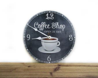Kitchen Wall Clock   Vintage Style Coffee Shop Open 24 Hrs   Rustic Home  Decor