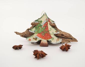 Christmas tree ornament, santa ornament, Christmas decor, Christmas wooden decoupage ornament, Santa Claus, romantic decoration