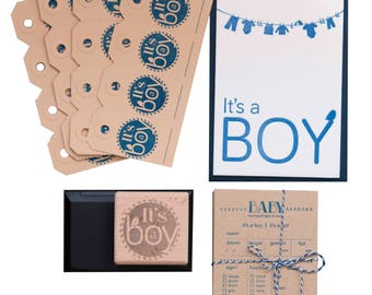 Baby shower package in letterpress + stamp
